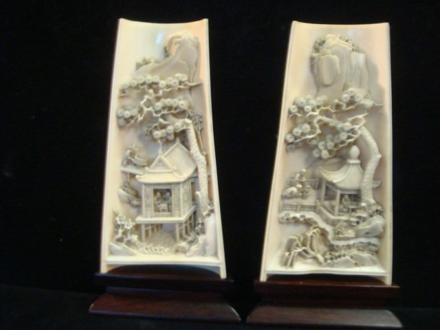 Two Part Chinese Scenic Ivory Diorama: