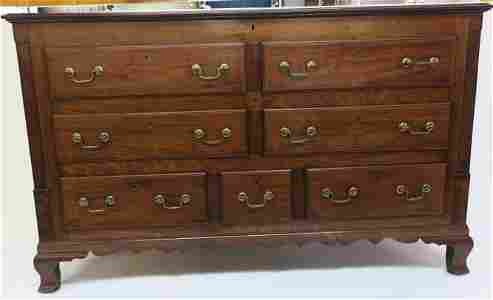 18th C. American Mahogany Chippendale Mule Chest:
