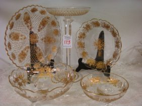 Vintage Moser Gilded Intaglio Tableware, 5 Pieces: