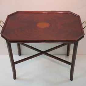 Mahogany Matched Veneer With Inlay Tea Table: