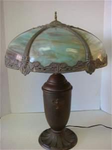 Vintage Curved Slag Glass Lamp on Urn Base: