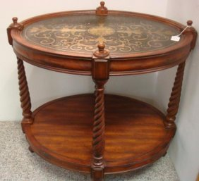 Two Tier Oval Table With Brass Inlaid Top: