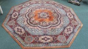 Octagonal Couristan Kashimar Wool Pile Rug: