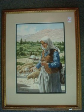 Sheep Herder Watercolor Signed D. Vassiliou:
