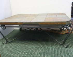Slate Top Iron Base Cocktail Table: