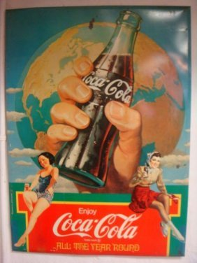 """1932 """"all The Year 'round-metal Coca-cola Sign:"""