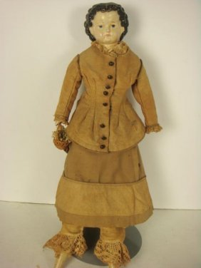 Papier Mache Head And Shoulder Plate Doll: