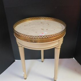 Brandt Galleried White Marble Topped Small Table: