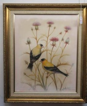 Painting Of Finches On Silk, Signed Don Key