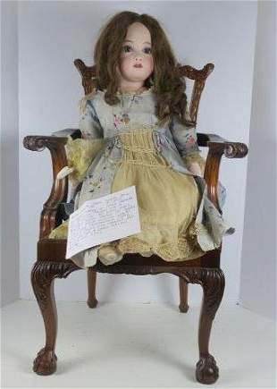 Bisque Shoulder Plate Seated Doll in Chair: