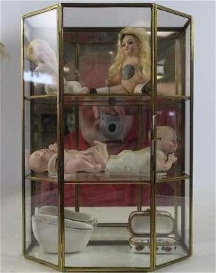 Five Porcelain and Bisque Dolls and a Trinket Box: