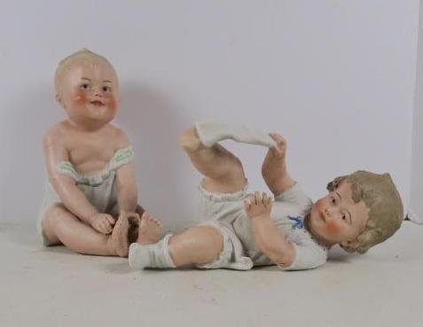 Bisque Hand painted Piano Babies: