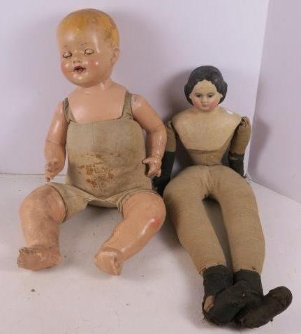 China Doll w/Papier Mache Head & Shoulder Plate Doll:
