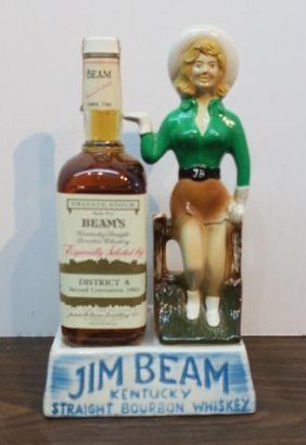 "Jim Beam ""cowgirl"" Ceramic Bottle Holder, Ca 1983:"