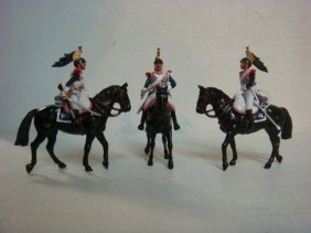 Three Mounted Cuirassiers 54mm Model Soldiers: