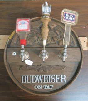Budweiser Barrel End Tap Cover With Beer Tap Handles: