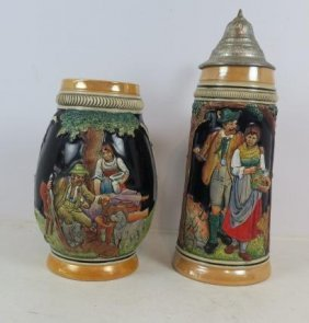 Two Traditional German Beer Steins And Mug: