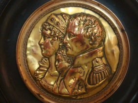 Gilded Copper Cameo, Napoleon, Maria Louise & Son: