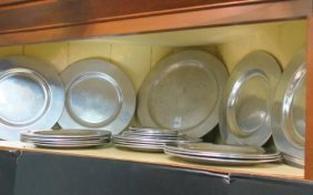 34 Pewter Plates By Wilton: