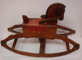 Antique Hand Built Wooden Rocking Horse: