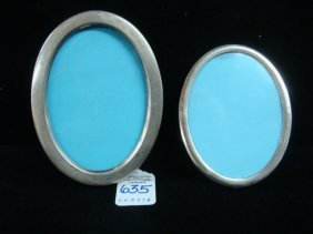 Two Sterling Silver Oval Picture Frames: