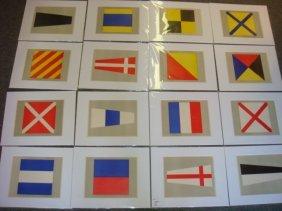 "Sixteen Nautical Signal Flag Prints, 7 1/2"" X 9 1/2"":"