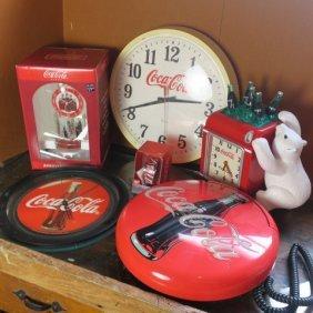 Coca-cola Nostalgic 5 Timepieces And Button Phone: