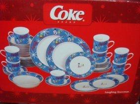 Coca Cola 42 Piece Service For 8 Dinnerware Set: