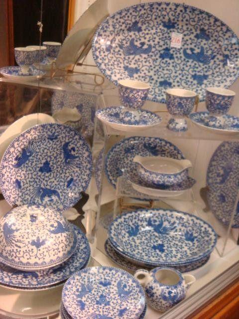 22 Pcs Vintage BLUE PHOENIX Dinnerware, Various Makers: