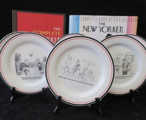 Six New Yorker Cartoon Cheese Plates & Two Books:
