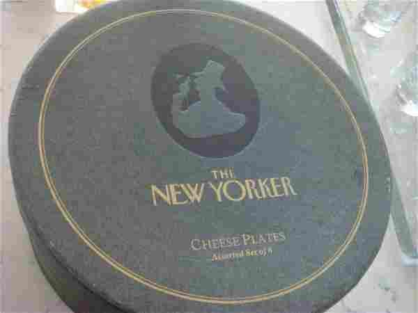 Four New Yorker Cartoon Cheese Plates in Original Box: