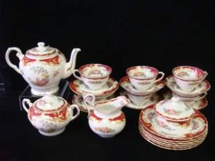 "TUSCAN ""Naples"" Maroon Fine Bone China Tea Set:"