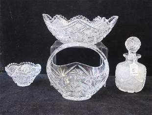 Two Cut Crystal Bowls, Basket and Decanter: