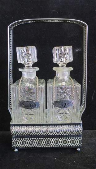 Chrome Tantalus with 2 Clear Glass Decanters: