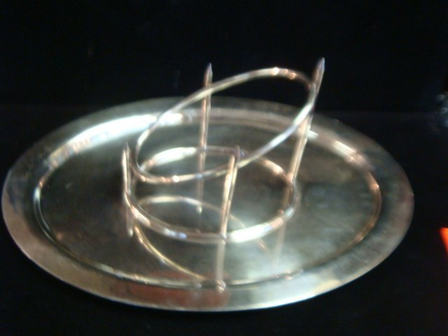 Vintage Silver-plate Meat/Ham Carving Stand on Tray: