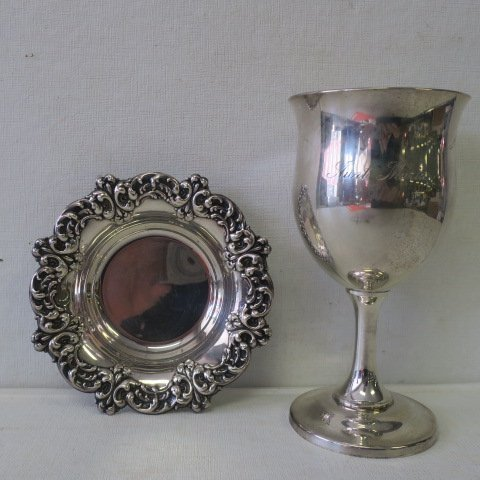Sterling Silver Goblet and Dish: