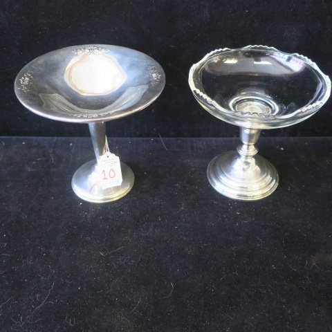 Sterling Silver and Glass Compotes: