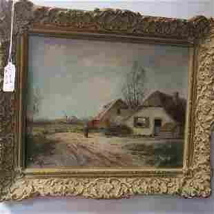 Dutch Landscape Oil on Board Signed KLAUSEN: