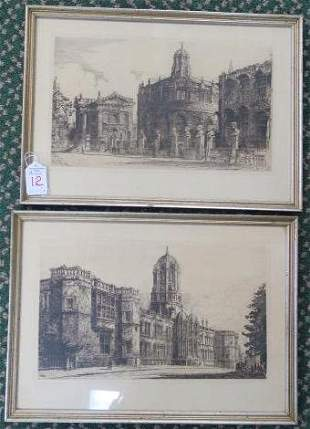 Two 1910 WILLIAM MONK British Architectural Etching: