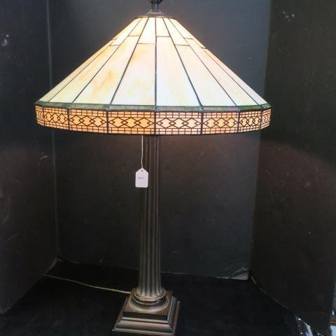 Arts & Crafts Style Caramel Slag Glass Table Lamp: