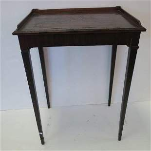 Floral Marquetry Inlaid Side Table with Gallery: