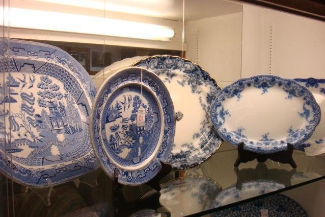 Blue & White Platters and Hot Water Plate: