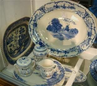 Blue & White Platters, Sugar, Creamer, Coffee Jar: