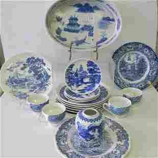 Nineteen Pieces of Assorted Blue and White China:
