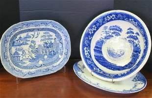 Blue and White Platters and Wash Bowl: