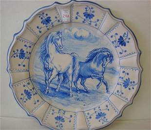 Hand Painted Stoneware Charger signed GUCCIONE: