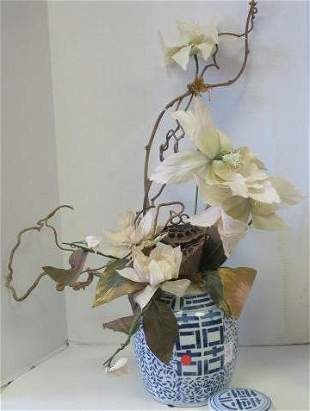 Blue and White Chinese Vase with Arranged Flowers: