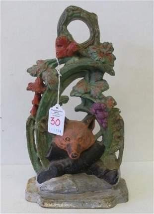 JZH Figural Fox Hunting Cast Iron 1949 Door Stop: