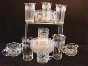 Twenty-One Pieces of Grapevine Etched Glassware: