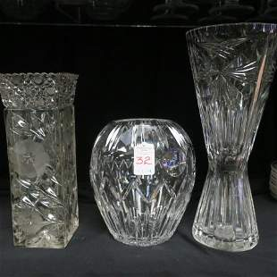 Three Cut and Pressed Glass Vases: